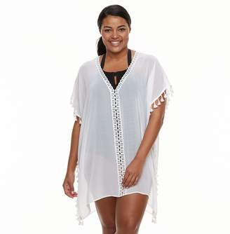 Plus Size Beach Scene Tassel Poncho Cover-Up