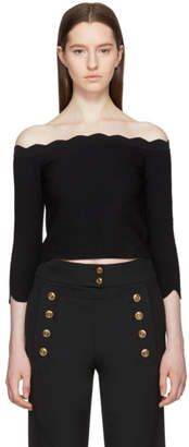 Alexander McQueen Black Scalloped Off-the-Shoulder Sweater