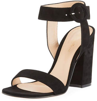 dc5d15f5d4a Gianvito Rossi Suede Chunky-Heel Ankle-Wrap Sandal