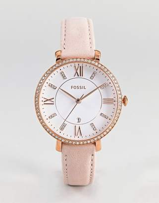 Fossil ES4303 Jacqueline Leather Watch In Pink 36mm
