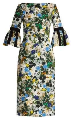 Erdem Alexandra Mariko Meadow Print Matelasse Dress - Womens - White Print