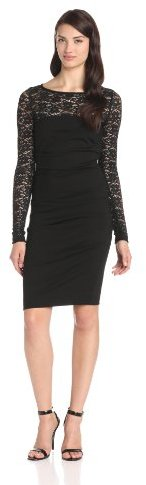 Nicole Miller Women's Textured Lace Long-Sleeve Dress