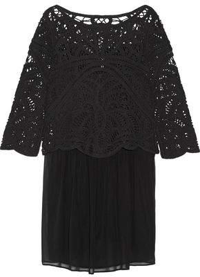Joie Jordie Layered Cotton-Macramé And Silk-Chiffon Mini Dress