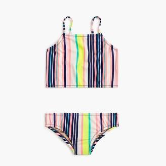 J.Crew Girls' cropped tankini set in pink stripes