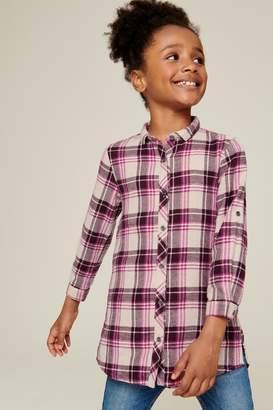 Next Girls Berry Check Longline Shirt (3-16yrs) - Purple