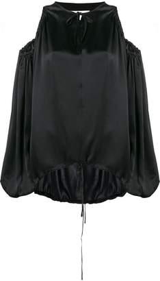 Marques Almeida Marques'almeida satin cold-shoulder blouse