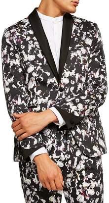 Topman Ultra Skinny Fit Floral Print Tuxedo Jacket
