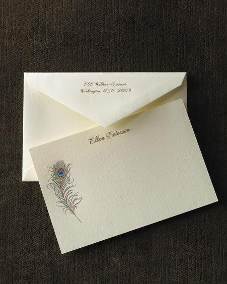 Crane Ecru Peacock Plume Cards & Envelopes