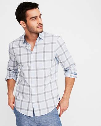 Express Classic Soft Wash Plaid Button Collar Shirt