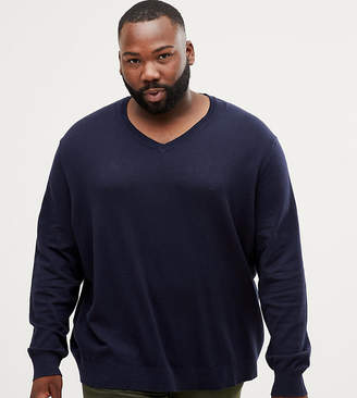 Burton Menswear Big & Tall v neck jumper in navy