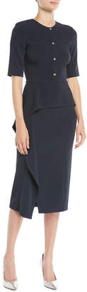Jason Wu Elbow-Sleeve Cascade-Skirt Crepe Sheath Cocktail Dress