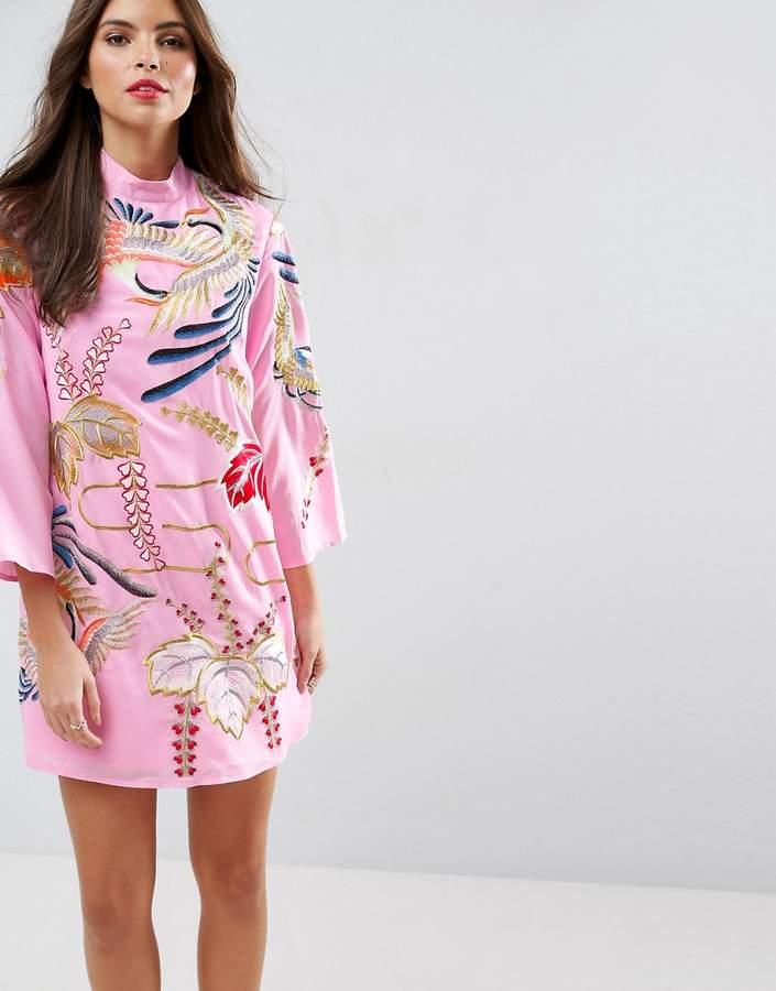 AsosASOS Embroidered Tunic Shift Mini Dress