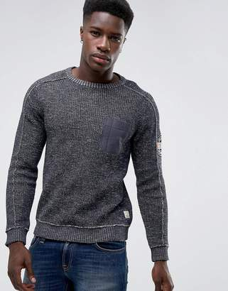 Jack and Jones Vintage Knitted Sweater With Arm Badge And Pocket