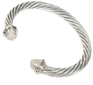 David Yurman Sterling Silver and 18K White Gold 0.55ct Diamond Vintage Bangle Bracelet