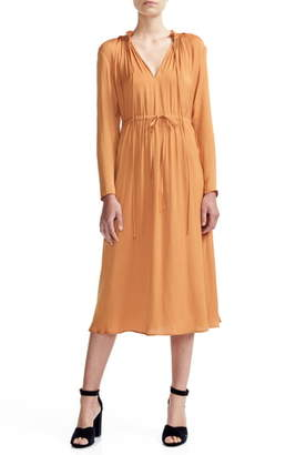 Maje Rouge Split Neck Long Sleeve Midi Dress