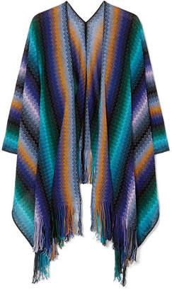 Missoni Fringed Crocheted Wool Wrap - Blue