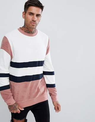 Asos DESIGN sweatshirt with towelling color blocking