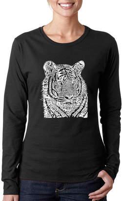 LOS ANGELES POP ART Los Angeles Pop Art Women's Word Art Long Sleeve T-Shirt - Big Cats