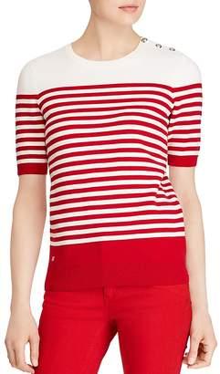 Lauren Ralph Lauren Striped Button-Shoulder Sweater