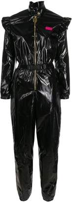 GCDS Faux-leather ruffled jumpsuit