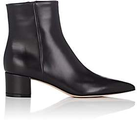 Gianvito Rossi Women's Block-Heel Leather Ankle Boots - Black