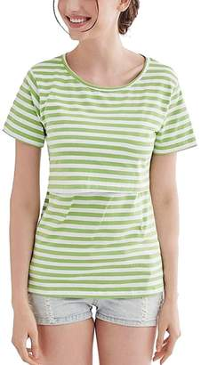 Tasatific Womens Nursing Shirt Maternity Striped Tees Top Tank for Breastfeeding L