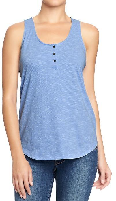 Old Navy Women's Micro-Striped Henley Tanks