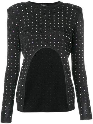 Balmain crystal-embellished cut-out knit