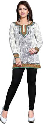 Off-White Maple Clothing Indian Kurti Top Tunic Printed Womens India Clothes (White, L)