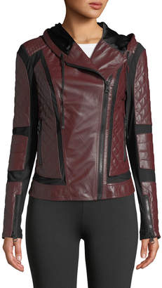Voyage Hooded Diamond-Stitch Lace-Up Leather Moto Jacket