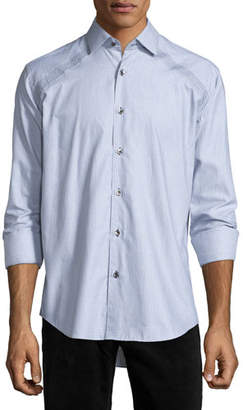 Bogosse Jacquard Long-Sleeve Sport Shirt, Gray