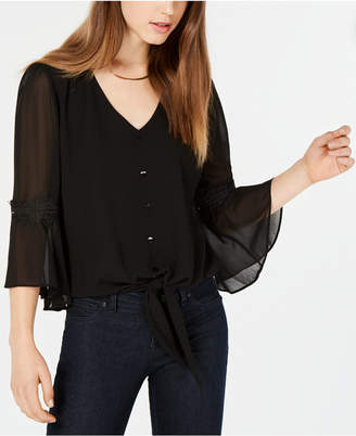 BCX Juniors' Bell-Sleeve V-Neck Top