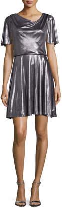 Flutter-Sleeve Metallic Cocktail Dress, Gunmetal