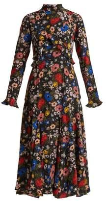 Erdem Cordelia Lismore Garden Print Silk Dress - Womens - Black Multi