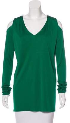Les Copains Cutout-Accented Long Sleeve Top