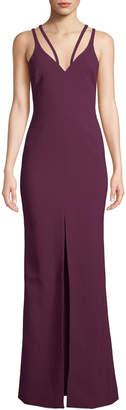 LIKELY Leslie Strappy V-Neck Front-Slit Gown