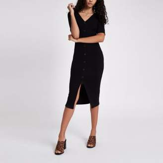 River Island Black rib button midi bodycon dress