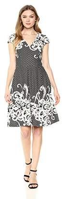Adrianna Papell Women's Scroll Border Knit Fit and Flare