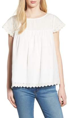 Caslon Embroidered Woven Top