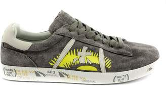 Premiata Andy Sneaker In Grey Suede Upper With Design Print