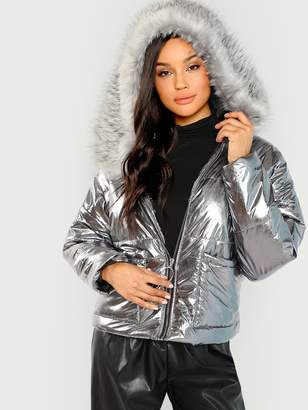 Shein Metallic Puffer Jacket With Faux Fur Trim Hood