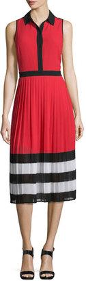 MICHAEL Michael Kors Billerly Striped Pleated A-Line Midi Dress, Red Blaze $165 thestylecure.com