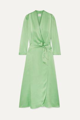 Forte Forte Hammered Silk-satin Wrap Dress - Light green
