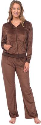 Pink Lady Womens Soft Velour Zip Hoodie and Bottoms Lounge Tracksuit (Jet Black, XL)