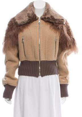Marc Jacobs Alpaca & Wool-Blend Fur Trimmed Jacket w/ Tags