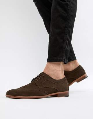 New Look faux suede brogue shoes in dark brown
