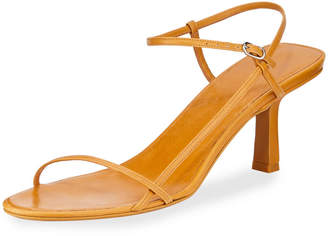 The Row Nude Asymmetric Leather Sandals