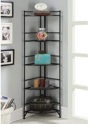 Convenience Concepts Designs2Go 5-Tier Metal Folding Corner Shelf, Black Finish