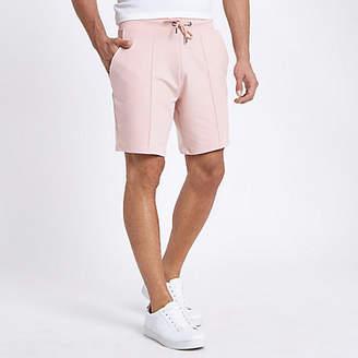 River Island Pink pintuck wasp embroidered slim shorts