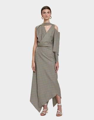 Awake Checkered Asymmetry Dress